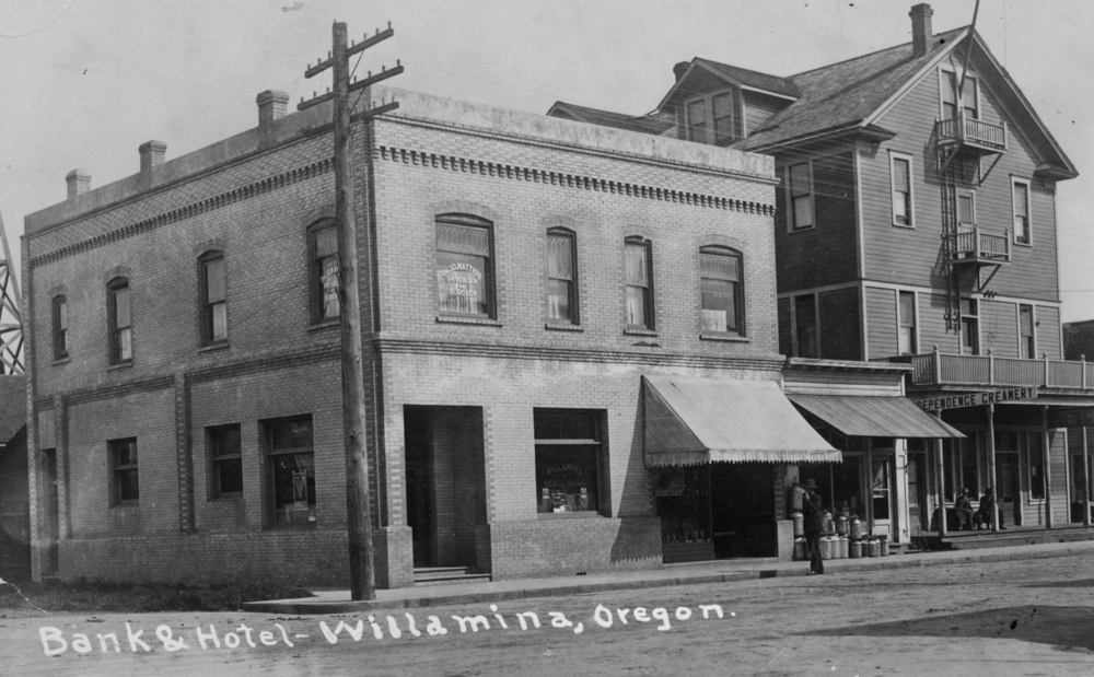 Bank and hotel at Willamina (unknown date).